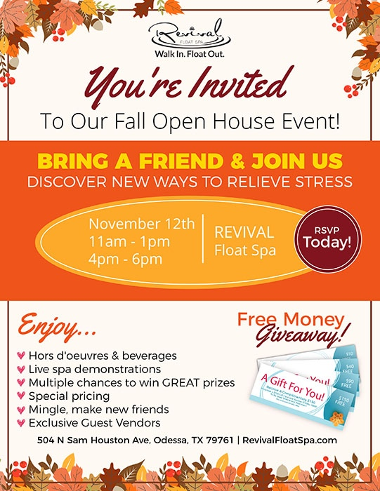 Flyer advertisement for fall open house.  November 12th 11am-1pm and 4pm-6pm. Will have beverages, demonstrations, prizes, and special prizes.