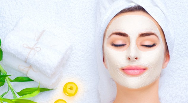Lady with a facial mask on.