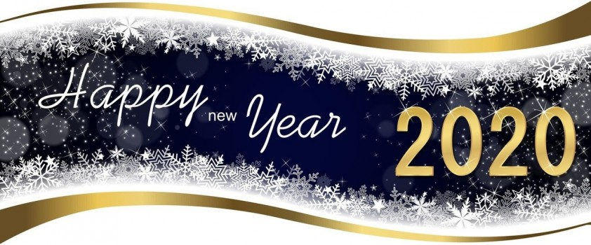 Banner stating Happy New Year 2020 with gold ribbon, white snowflakes, and a dark blue background.